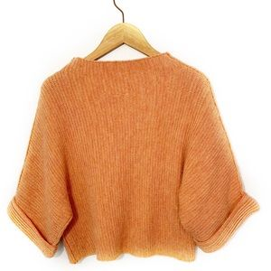 Anthropologie Moth Orange Sweater Dolan Sleeves